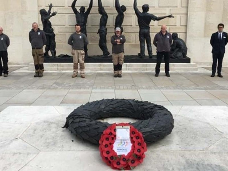 A wreath being laid at the National Memorial Arboretum