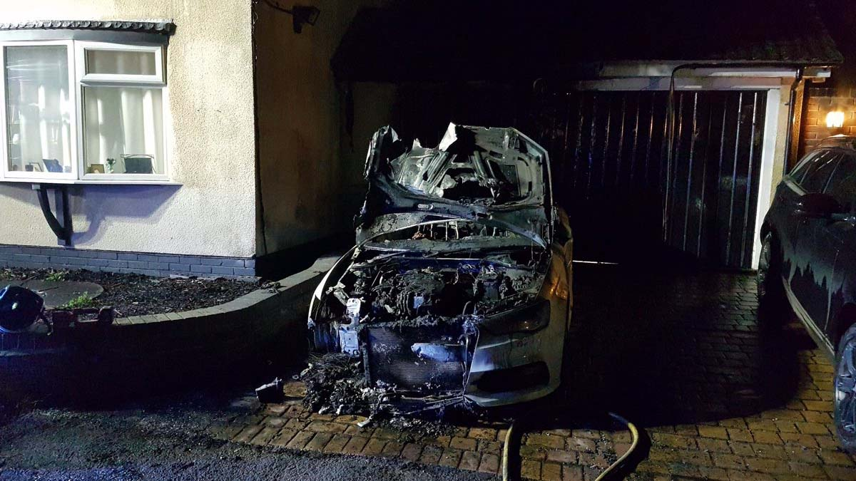 The fire-damaged car in Stonnall