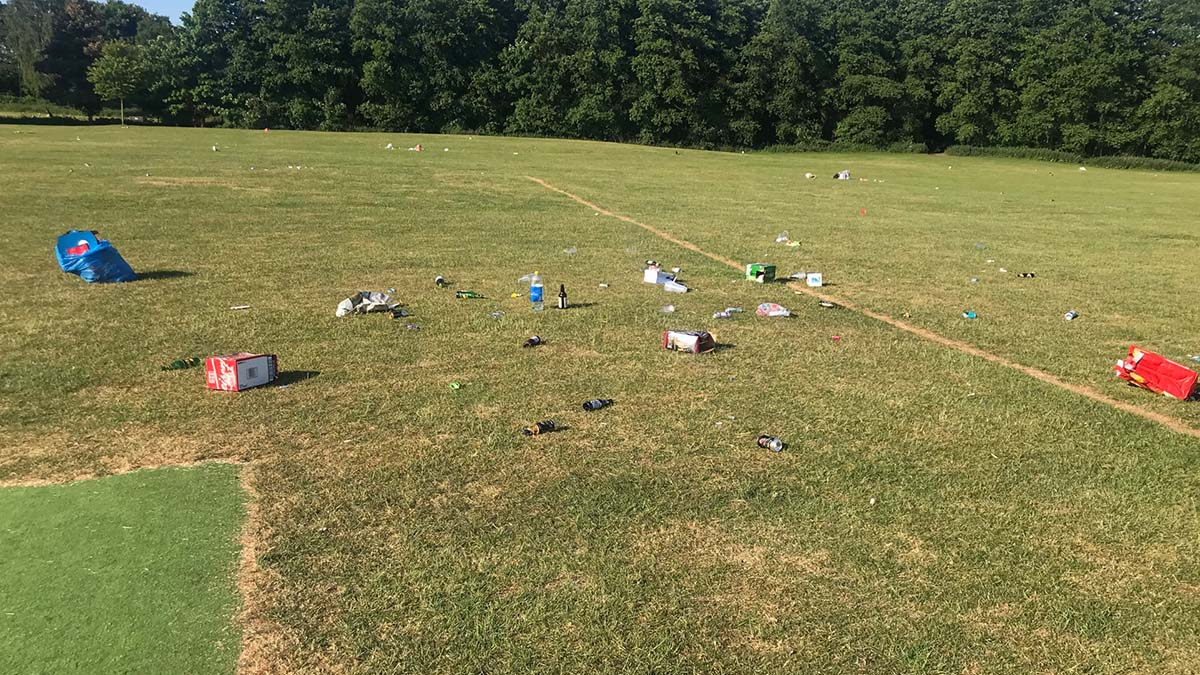 Some of the rubbish left in Beacon Park. PictureL Laura Sulin