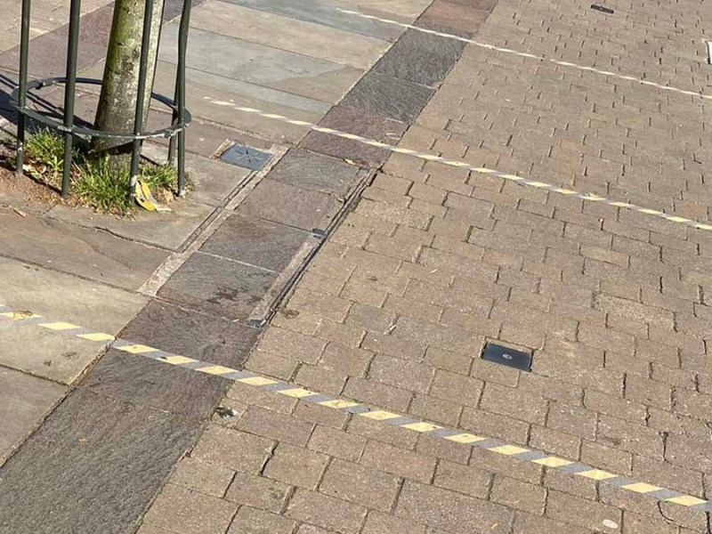 Tape marking social distancing in Lichfield city centre