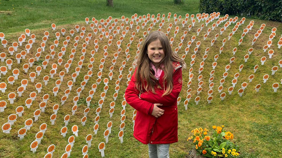 Ella Ho at the St Giles Hospice Gerbera Garden on one of her walks
