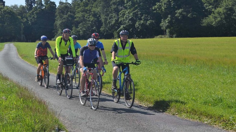 Charlie Bagott-Jewitt and the other riders preparing for their 300 mile challenge