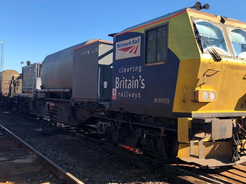 One of the leaf-blasting trains being used by Network Rail