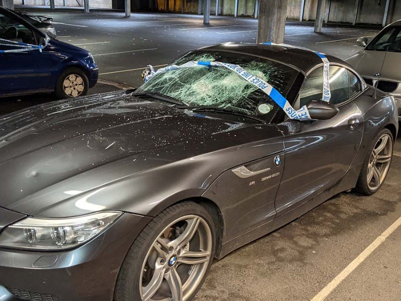 One of the cars damaged by vandals in Lichfield