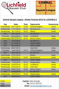 Central Winter League 2015-16 fixtures Lichfield A