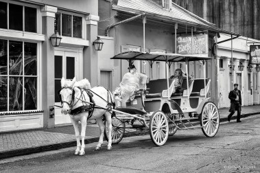 Pferdekutsche. Bourbon Street, New Orleans, Louisiana, USA in s/w, b/w