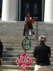 Licia reading at International Womens Day 2013 capitol steps