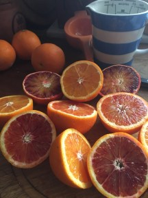 Blood oranges waiting to be juiced