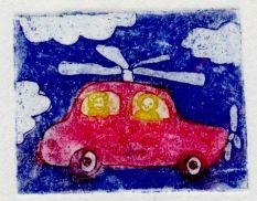 Leteci avto, 5x4cm, 2003 (cena 18 EUR)