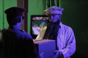 Matthew Schultz (Sadam Hussain) & Dan O'Neill (Osama Bin Ladin). Photo by Ryan Gaddis (2011)