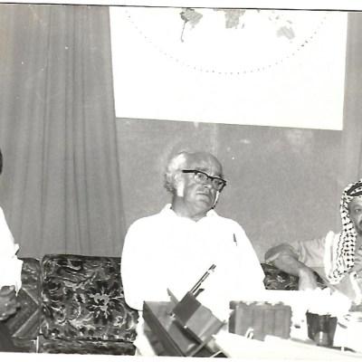 With Palestinian Leader Yassar Arafat and late Canadian MP/Senator Heath Macquarrie, in Beirut in June 1977