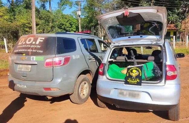 Veículo furtado que seguia para Dourado com mais de 150 quilos de maconha foi recuperado pelo DOF durante a Operação Hórus