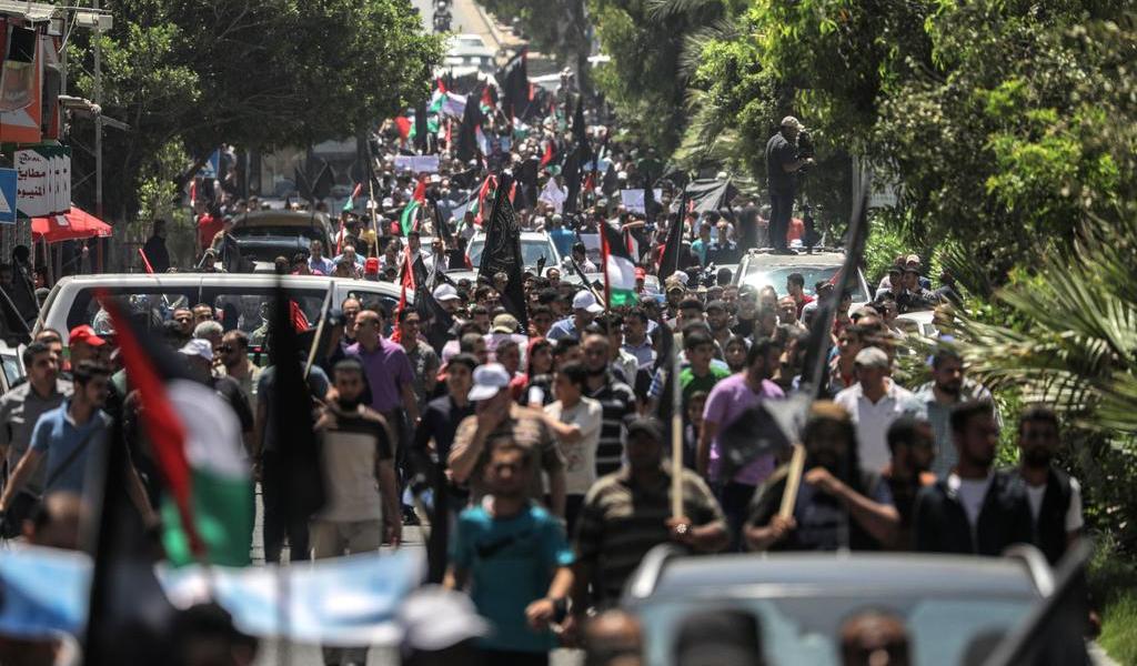 Protestan palestinos en Gaza ante la presentación del plan de Trump