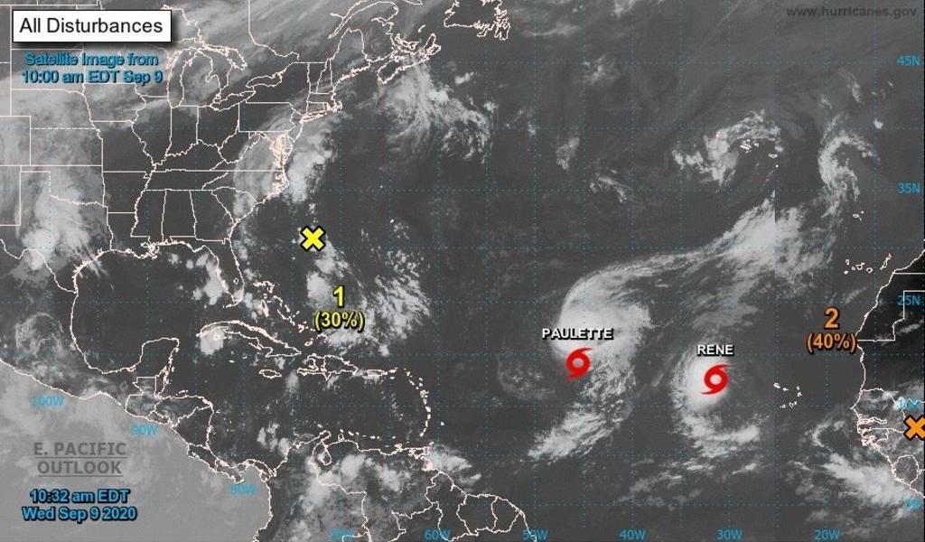 Tormentas 'Rene' y 'Paulette', en mar abierto rodeadas de sistemas sin formación