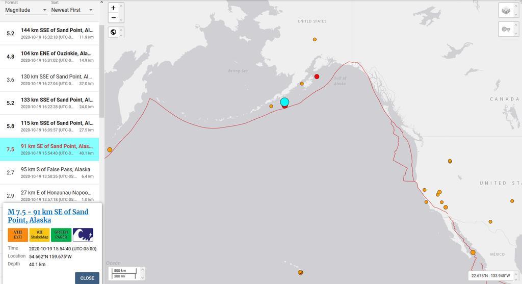 Registran sismo de magnitud 7.5 en Alaska; emiten alerta de tsunami