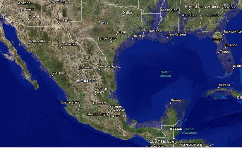 """Q. Roo y Yucatán desaparecen en este """"mapa de inundación"""""""