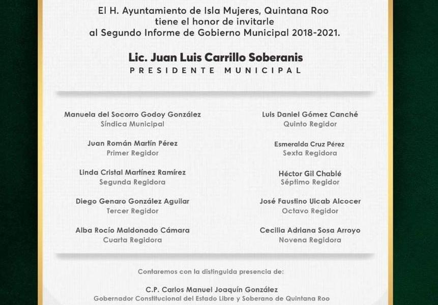 INVITA JUAN CARRILLO AL SEGUNDO INFORME DEL GOBIERNO MUNICIPAL 2018-2021