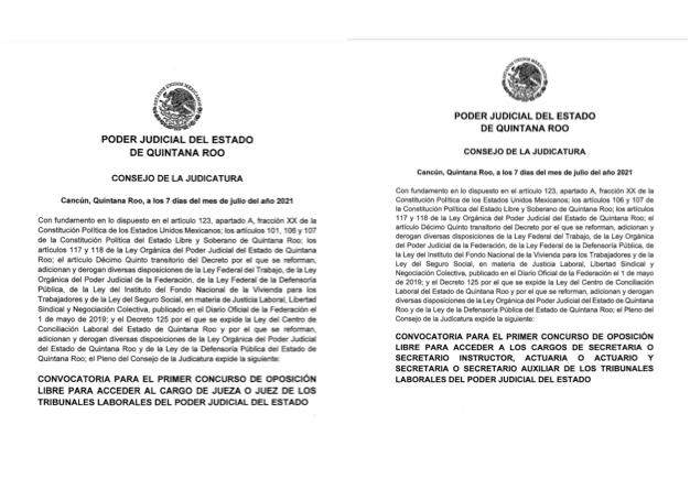 CONVOCATORIA PARA EL PRIMER CONCURSO DE OPOSICIÓN LIBRE PARA ACCEDER AL CARGO DE JUEZA O JUEZ, SECRETARIA O SECRETARIO INSTRUCTOR, ACTUARIA O ACTUARIO Y SECRETARIA O SECRETARIO AUXILIAR DE LOS TRIBUNALES LABORALES DEL PODER JUDICIAL DEL ESTADO.