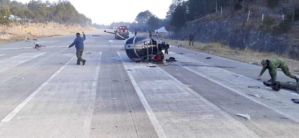 Helicóptero de la Sedena se desploma en una pista de Chihuahua