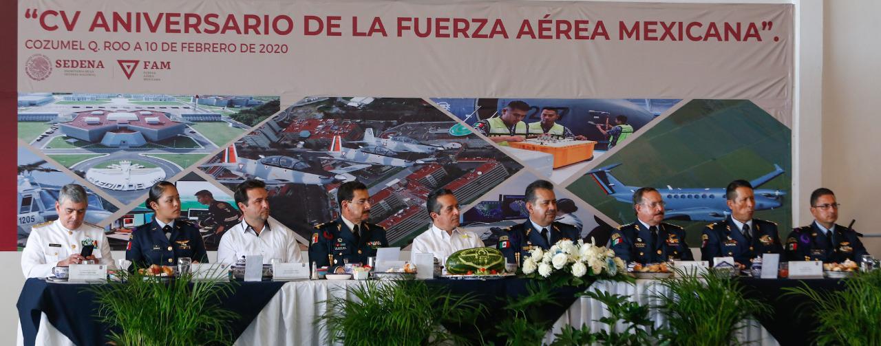 En el 105 Aniversario de la Fuerza Aérea Mexicana, Pedro Joaquín refrenda su compromiso para trabajar en unidad en pro de la seguridad de Cozumel