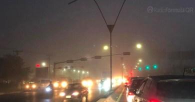 Amanecer con espesa neblina en Cancún