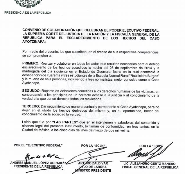 Pactan AMLO, Gertz y Zaldívar unión para esclarecer el caso Ayotzinapa