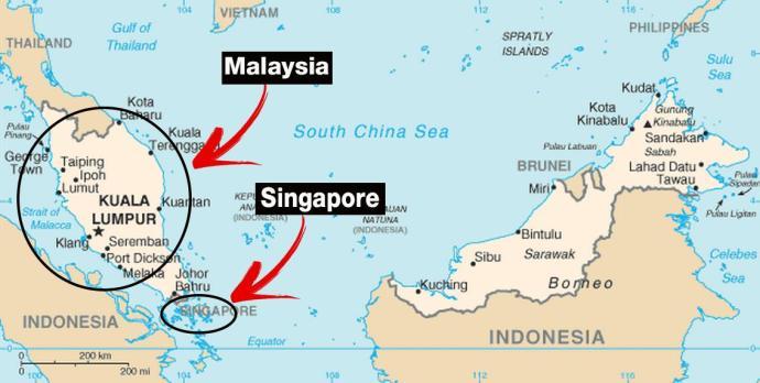 Карта Сингапур