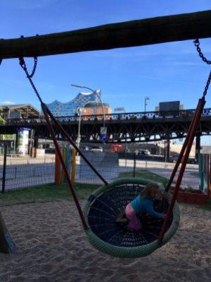 Playground overlooking the Elbphilharmonie