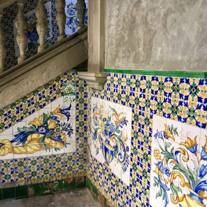 Mosaic on the stairs in the Casa de l'Ardiaca