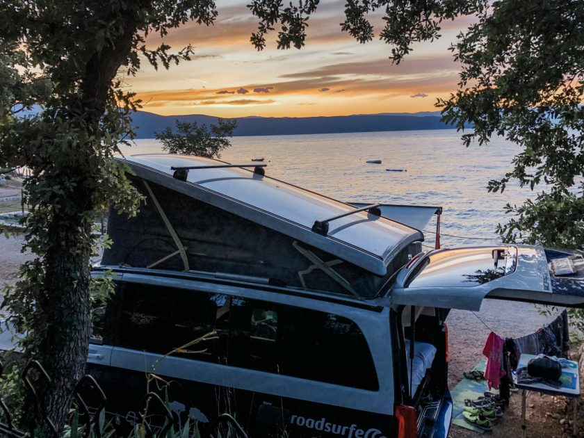 Camper with sunset