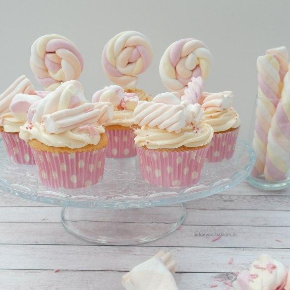 Yoghurt cupcakes met marshmallows