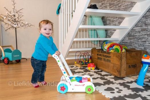 Jayden 10 maanden en 4 weken oud, loopkar Woezel en Pip met blokken lopen