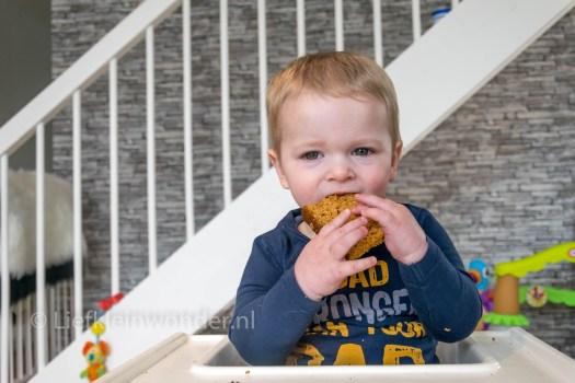 14 maanden en 3 weken oud - dreumes ontbijtkoek eten