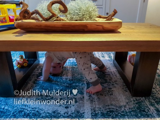 Jayden anderhalf jaar oud peuter dreumes - Spelen onder de tafel