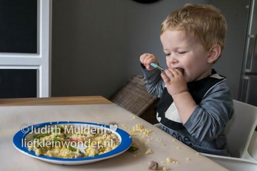 Jayden anderhalf jaar oud peuter dreumes - Bulgur met peultjes en bieflappen