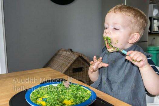 Jayden 19 maanden oud dreumes peuter - Spinazie eten met vrok en vlees met handen