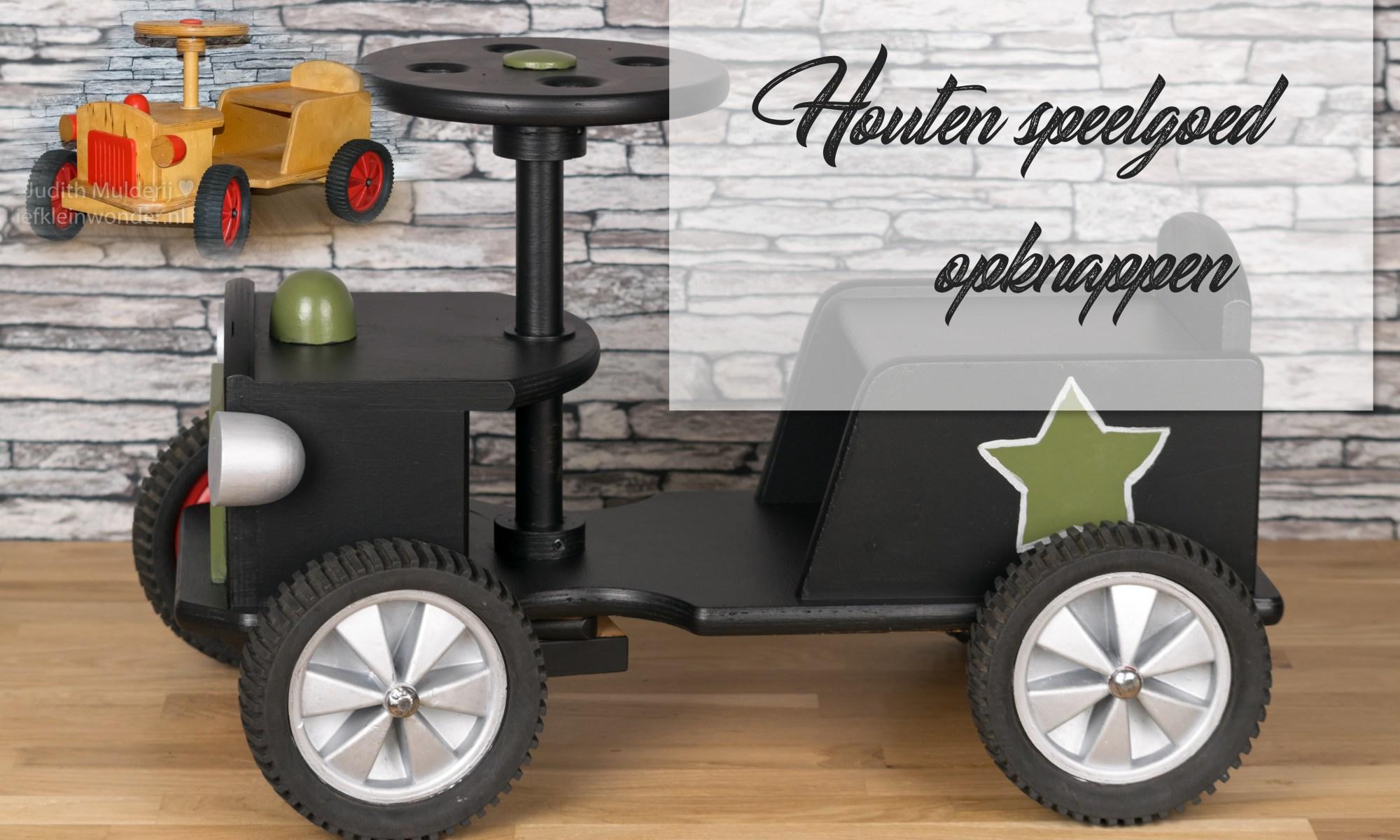 Houten speelgoed opknappen schilderen verfen verf hout auto