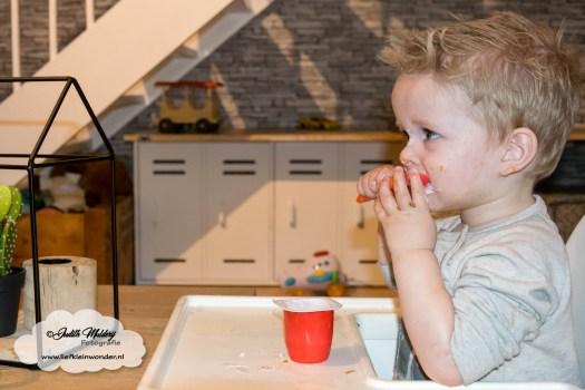 Jayden 22 maanden en 3 weken oud peuter dreumes mamablog blog - toetjes niet lekker danoontje gaat niet op