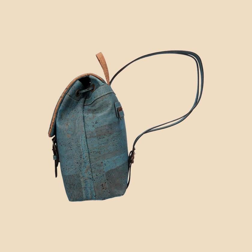 Sac à dos en liège modèle Wild vue profil couleur bleu