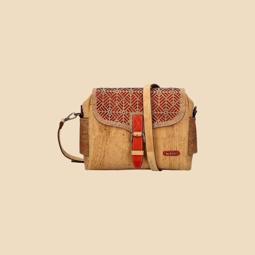 Sac bandoulière en liège modèle Jumanji vue face couleur rouge