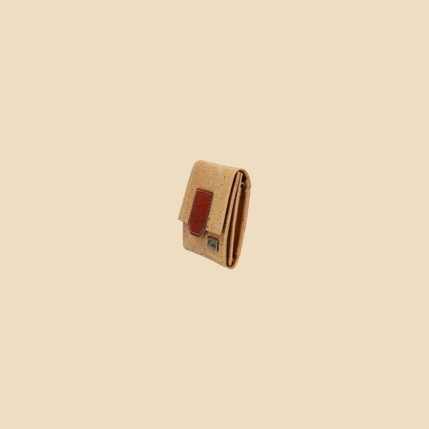 Portefeuille en liège modèle Gaïa vue profil couleur rouge