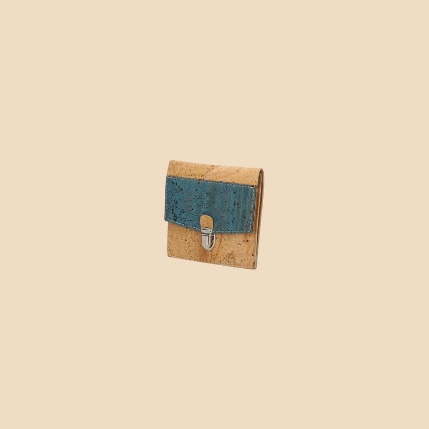 Portefeuille en liège modèle Oxylus vue trois quarts couleur bleu