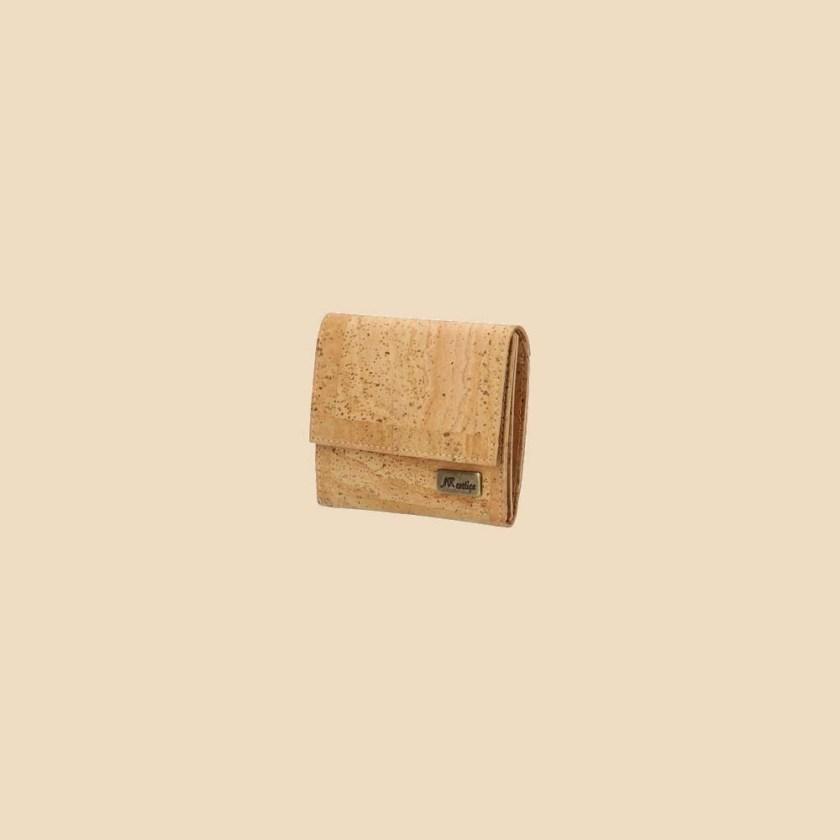 Portefeuille en liège modèle Mumble vue trois quarts couleur naturel
