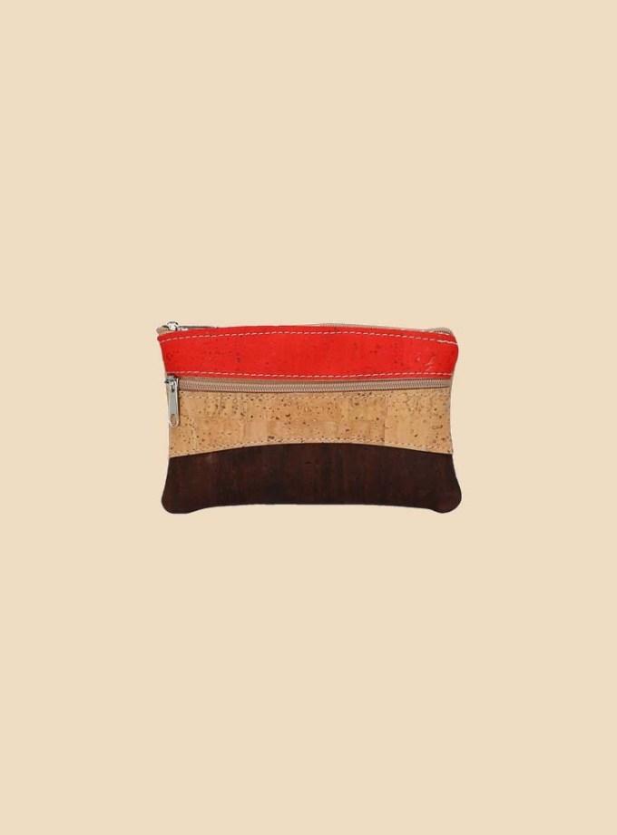 Portefeuille en liège modèle Ilona vue face couleur orange naturel marron