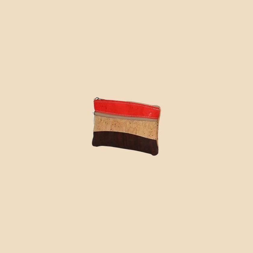 Portefeuille en liège modèle Ilona vue trois quarts couleur orange naturel marron