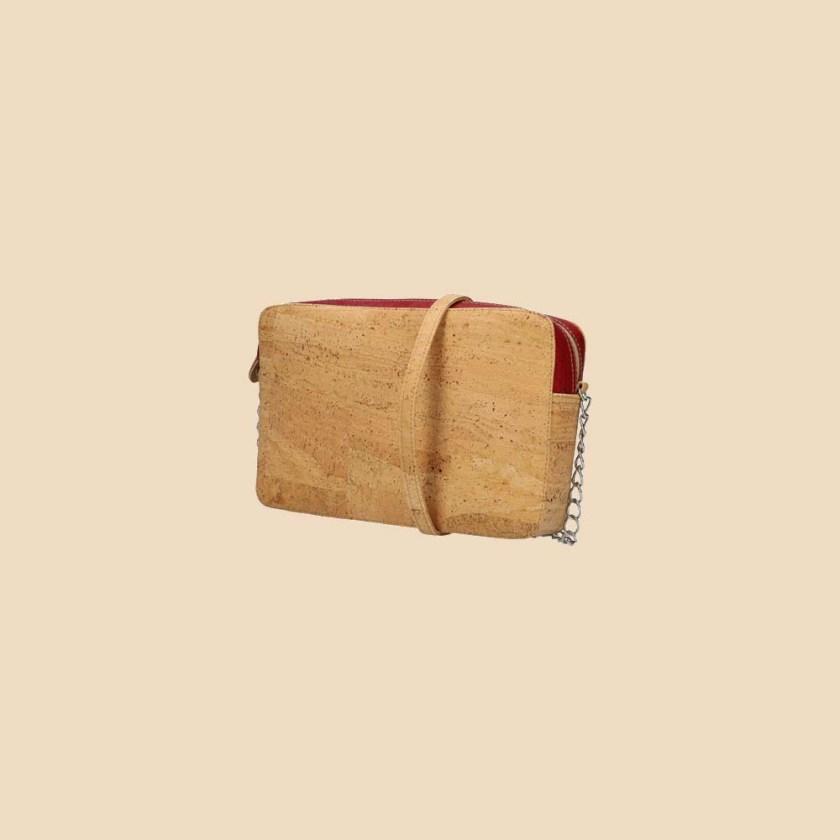 Sac bandoulière en liège modèle Concordia vue trois quarts couleur rouge