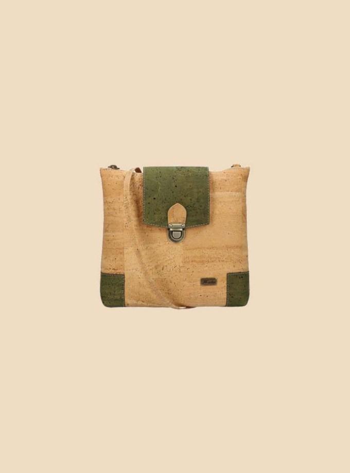 Sac bandoulière en liège modèle Rudolff vue face couleur forêt