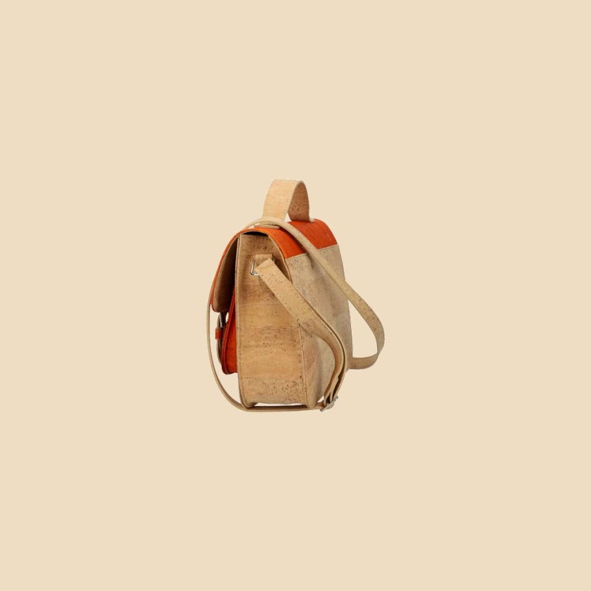 Sac bandoulière en liège modèle Pearl vue profil couleur orange