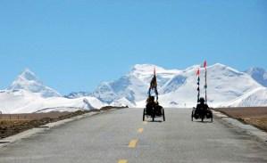 mit Drierädern auf Tibet