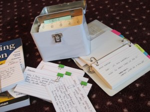 Picture of Index Cards used for Creative Writing